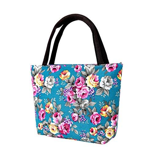 Lubier neue Frauen Mädchen Leinwand Handtaschen Tote personalisierte Stoff mmonogramed Tragetaschen (Grün-legere Handtasche)