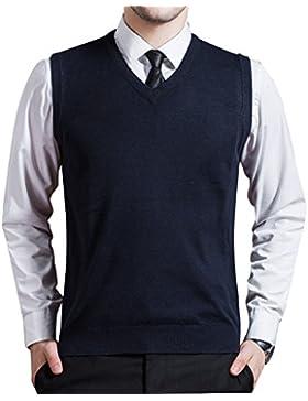 Chaleco de Punto con Cuello en V para Hombres sin Mangas de Cuello Redondo - Azul L