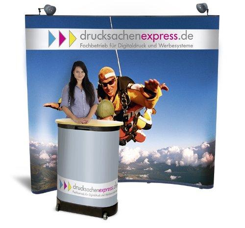 Schwarz   Nr. 400962 diverse Farben TecTake Promotionswand 180x200 cm Messestand Faltdisplay Faltwand Messewand mit Tisch