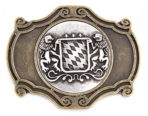 Wertvolle Gürtelschnalle - Schließe oval - Wappen Bayern Löwen in messing - antike Geschenk Idee Geburtstag