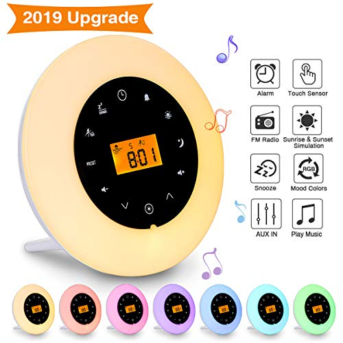 Elfeland Wake Up Light LED Lichtwecker Tageslichtwecker Nachtlicht FM-Radio, Sonnenaufgangfunktion, Audio-Verbindungsfunktion, 6 Helligkeitsstufen, 7 Auto Farben, 8 Sounds Ideal für Haus,Geschenk