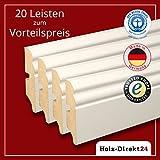 20 Stk/52 m weiße MDF Hamburger Profil Fussleisten 2600 x 19 x 70 mm - Vorteilspack 3,80€/m - 17% Rabatt