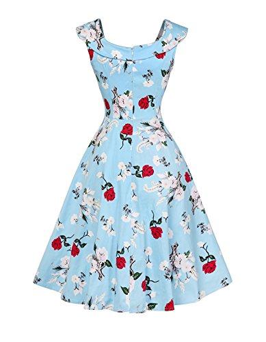 Chez BoBos Femme Robe Vintage 1950s Audrey Hepburn Floral BoatNeck Taille Haute Robe de Soirée et Casual Bleu
