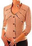PoshTops Damen Blazer mit Knopfleiste Stehkragen Dehnbares Strukturiertes Material Damenshirt 3/4 Puffärmel Größen S – XXXL Abendkleidung Freizeitkleidung Plus Size (Kakao, XXL / 46)