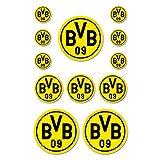 Borussia Dortmund BVB Aufkleber 12 Stück, Folie, Schwarz/gelb, 10 x 15 x 1 cm, Einheiten