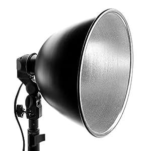 Kit d'éclairage lumière continue : Douille de Studio Photo E27 220V + Bol Réflecteur Alu 28cm