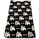"""Bulldog Puppy Bone Cute Yoga and Out Door Microfiber Ribbed Cotton Hand Towels Washcloth Towels 12"""" X 28"""""""