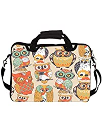 """Snoogg Faces Of Owl 14"""" 14.5"""" 14.6"""" Inch Laptop Notebook SlipCase With Shoulder Strap Handle Sleeve Soft Case..."""