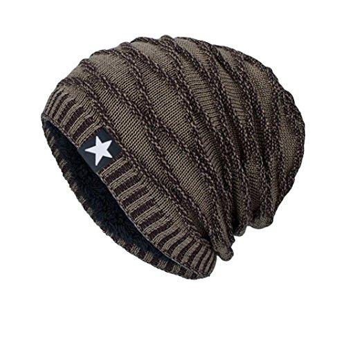 Strickmützen,Beikoard Mode Unisex Damen Herren Winter Strickmütze Sicherungskopf Hut Beanie Cap Warm Outdoor Mode Mützen Hut (Khaki)