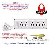 #5: INDRICO Extension Electric Switch Board Wire With 5 Anchor Socket [6A] And One Switch [6A-Anchor] And 3 Pin Plug [5 Meter Extension Cord]
