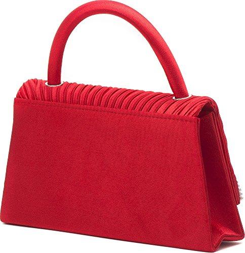 VINCENT PEREZ Borsetta con piccole maniglie, Borsa a tracolla, Pochette di raso increspato con strass e tracolla rimovibile (120cm) Rosso