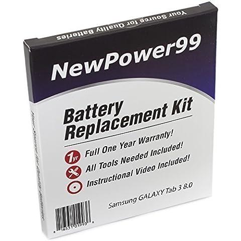 Kit de Reemplazo de la Batería para Samsung GALAXY Tab 3 8.0 Serie (GALAXY Tab 3 8.0 SM-T310, GALAXY Tab 3 8.0 SM-T311, GALAXY Tab 3 8.0 SM-T315) Tablet con Video de Instalación, Herramientas y Batería de larga duración