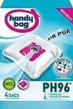 Handy Bag - PH96 - 4 Sacs Aspirateurs, pour Aspirateurs Philips, AEG, Electrolux, Volta et Tornado, Fermeture Hermétique, Filtre Anti-Allergène, Filtre Moteur