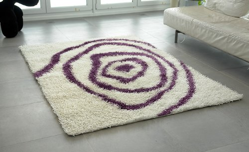 Kasper-Wohndesign X001 Nummer 26 Teppich, Stoff, weiß / lila, 230 x 160 x 1,5 cm