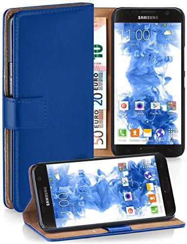 moex Booklet mit Flip Funktion [360 Grad Voll-Schutz] für Samsung Galaxy S7 | Geldfach und Kartenfach + Stand-Funktion und Magnet-Verschluss, Dunkel-Blau