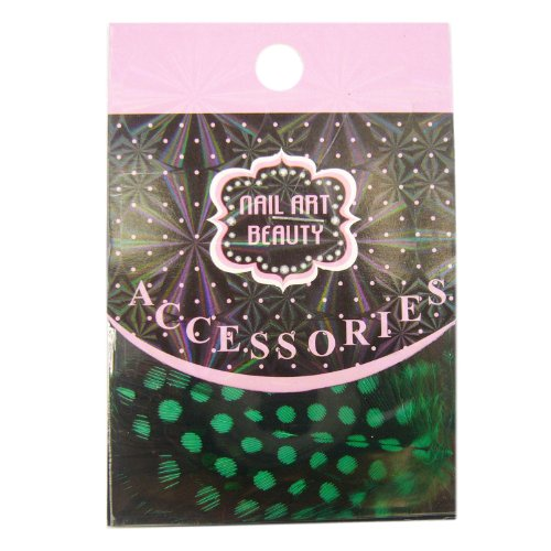 N & BF Nail Art plumes Green (Vert) – pour kit ongles Nails Vernis à ongles Deko Beauty Nail bijoux Accessories – Feather Plume Bijoux Bricolage Ressort