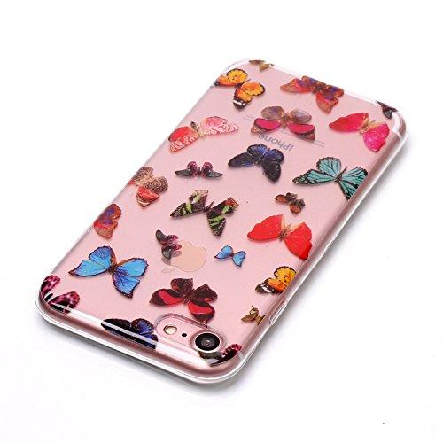 Cover iphone 7 / iphone 8 , iphone 7 / iphone 8 custodia , Cozy Hut iphone 7 / iphone 8 cover Morbido TPU Custodia [Ultra sottile] [Leggera] [Assorbimento-Urto] Paraurti in TPU Morbida Protettiva Case Farfalla colorata