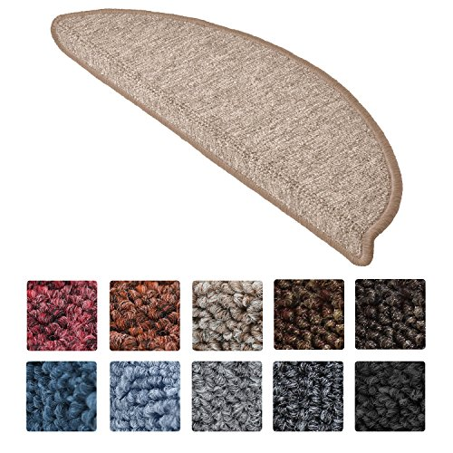 Beautissu 15 Set of Stair Pads ProStair 15.5 x 55 cm Step Carpet Non Slip Adhesive Rug/Mat for Stair Tread Sand
