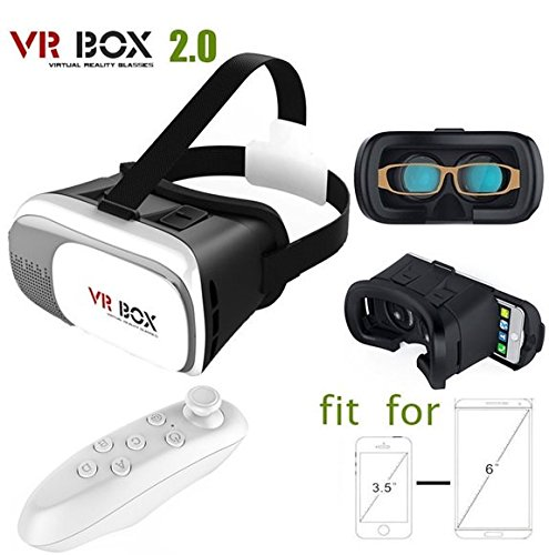 Generic VR Box 2nd Generation Enhanced Version Virtual Augmented Reality Cardboard 3D Video Glasses Headset with Bluetooth Remote Control For iPhone 6S 6 Plus SE 5S 5 Samsung Galaxy S7 Edge Plus S6 S5 S4 Note 5/4/3/2- 4.7'-6.0' Cellphone Mobile Phones - White