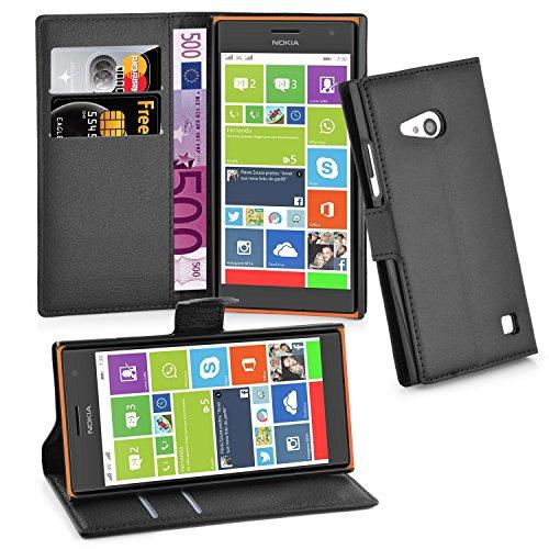 Cadorabo Hülle für Nokia Lumia 730 Hülle in Phantom schwarz Handyhülle mit Kartenfach & Standfunktion Case Cover Schutzhülle Etui Tasche Book Klapp Style Phantom-Schwarz