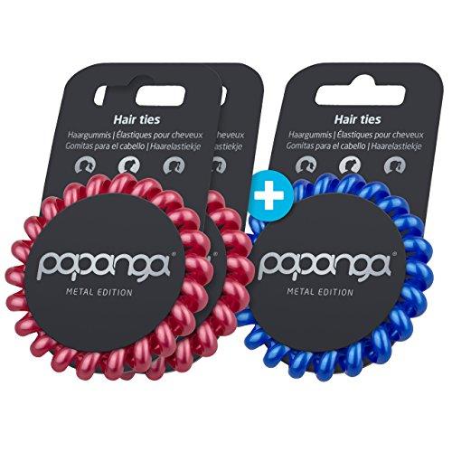 Original Papanga® Spiral Haargummis, 2+1 Vorteils-Pack, Metal Edition, Größe: Big, Farben: 2 x Royal Metallic + 1 x Metallic Ocean