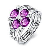 KnSam Ring Sterling Silber 925 Damen Verlobungsring Set mit Echt Amethyst Jahrestag Geschenk für Frauen Mutter Gr.53 (16.9) Modeschmuck