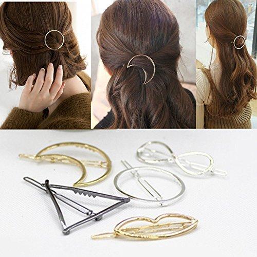 Cuhair 5pcs fashion Gold Hollow Geometric Metal punk Hairpin Hair Clip accessories barrette for girl women Clamps,Circle, Moon