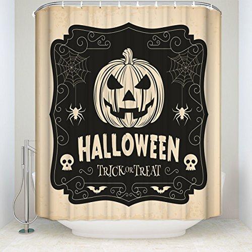 y lang Wasserdicht Groß Vintage Halloween Kürbis Spider Web Print Polyester Stoff Home Hotel Wohnungs Badezimmer Dusche Vorhang, Textil, Pumpkin Spider Web, 72x72 ()
