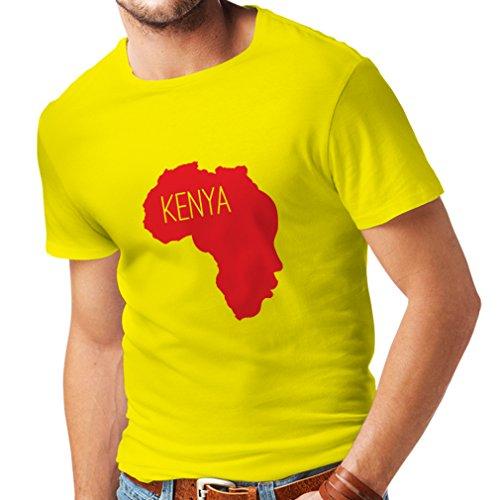 Männer T-Shirt Retten Kenia - politisches Hemd, Friedensrede (X-Large Gelb Rote)