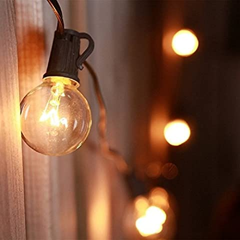 25ft G40 Clear Globe Bulbs Patio String Lights with 25 G40 Bulbs, Waterproof, End to End, Indoor/ Outdoor String Lights, Perfect for Patio, Cafe, Garden, Festoon Party