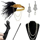 BABEYOND Accessoires Gastby des Année 1920 Costume pour Femme Ensemble d'accessoires Flapper y compris Bandeau Collier Gants Boucles d'oreilles et Porte-cigarette (Set-1)