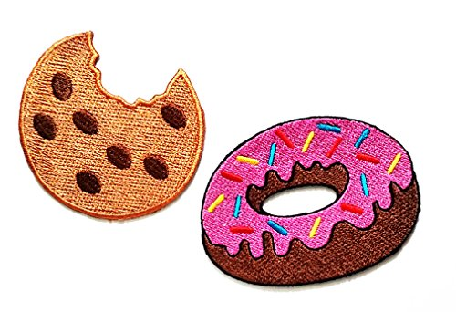 HHO Set 2 Stück Fast Food and Snack Patch Cookie with Pink Strawberry Donut Sweet Candy Food Patch für Taschen, Jacke, T-Shirt, Stickerei, Badge Kostüm