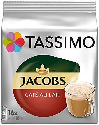 Tassimo Jacobs Café au Lait, Café, Cápsulas de Café, Café con Leche con granos de café tostados, 16 T-Discs / Porciones