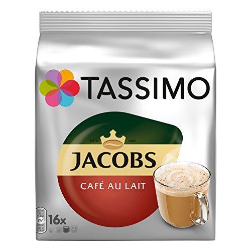 Tassimo Jacobs Café au Lait, Caffè, Capsule per Caffè, Caffellatte da Caffè Tostato Macinato, 16 T-Discs / Porzioni