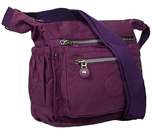 Gfm Borsa A Tracolla Multitasca Con Cerniera In Nylon Leggero S5 - Purple 05-ghjmn