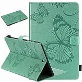 Laybomo Hülle für für Samsung Galaxy Tab A 9.7 / T550 T555 Ledertasche Schutzhülle TPU Silikon Cover Tasche Magnetisch Auto Schlaf/Wach und Standfunktion Schale, Schmetterling (Grün)