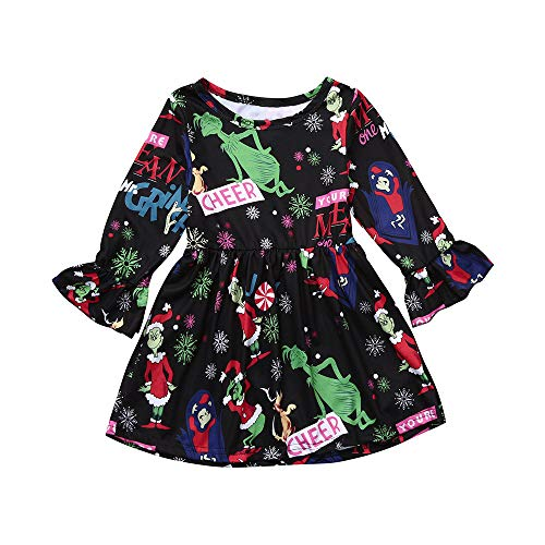 Cuteelf Kinder Langarm Kleid Trompete Ärmel Weihnachten Kleid Weihnachten Kleinkind Kind Baby Mädchen Cartoon Prinzessin Kleid Kleidung Full Print bequemen Rock Cute Fashion