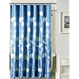 """Deco Window Shower Curtain Waterproof Polyester Fabric 71""""(W) X 71""""(H) With 12 Hooks, Floral Blue"""