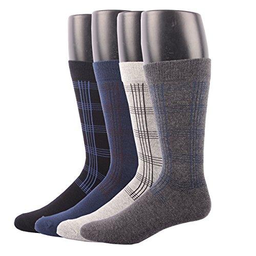 RioRiva Herren Business Socken Berufssocken Arbeitssocken Anzugsocken kariert bunt für Männer ohne gummi (EU 41-48 / US 7.5-13, BSK06- 4Paar)