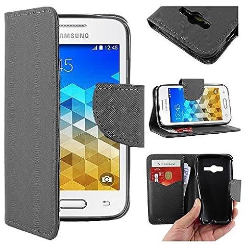 ebestStar - pour Samsung Galaxy Trend 2 Lite SM-G318H, Galaxy V plus - Housse Coque Etui Portefeuille Support PU Cuir, Couleur Noir [Dimensions PRECISES de votre appareil : 121.4 x 62.9 x 10.7 mm, écran 4'']