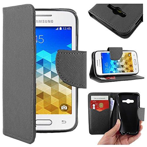 ebestStar - Compatibile Cover Samsung Galaxy Trend 2 Lite SM-G318H, Galaxy V Plus Custodia Portafoglio Pelle PU Protezione Libro Flip, Nero [Apparecchio: 121.4 x 62.9 x 10.7mm, 4.0'']