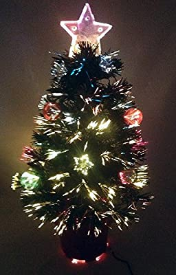 Christmas Concepts® 2FT GREEN FIBRE OPTIC CHRISTMAS TREE WITH STARS AND BAUBLES AND RED BASE