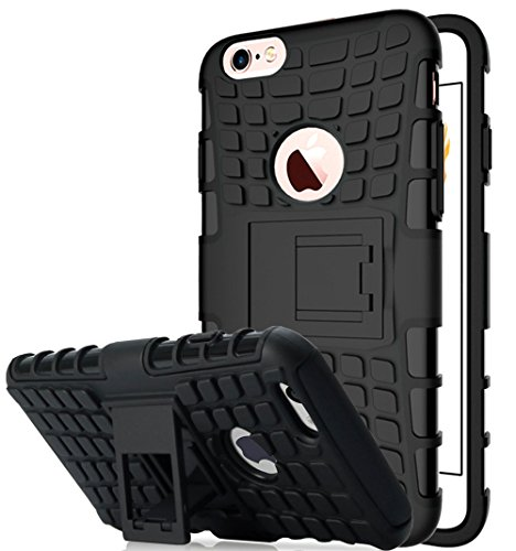 Nnopbeclik 2in1 Dual Layer Coque Iphone 6 Apple / Coque Iphone 6S Silicone [Pneus Texture Armor Séries] Protectrice Fine Et Élégante Rigide Backcover Incassable case pour Iphone 6 Coque Silicone / Iph noir