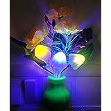 Pk Mushroom Led Lamp With White Pot Yellow Rose & Energy Saving & Multi Color Sensor