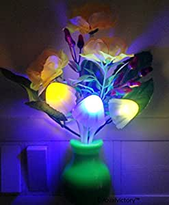 Pk Mushroom Led Lamp With Green Pot Pink Rose
