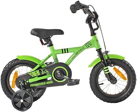 PROMETHEUS® 12 Pouces Vélo pour enfant Couleur Vert & Noir avec stabilisateurs   Caliper frein et frein à rétropédalage   à partir d