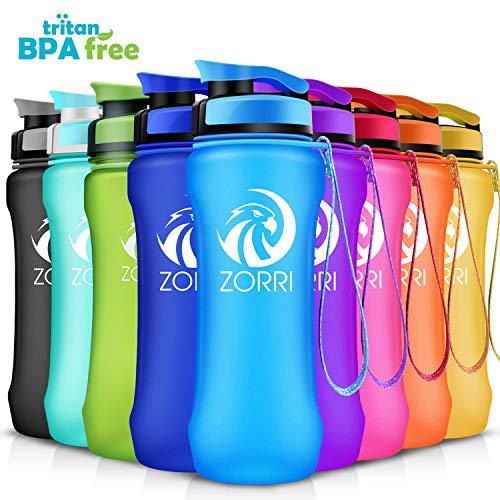 ZORRI Sport Trinkflasche auslaufsicher, BPA Frei & Umweltfreundlich Wasserflasche Für Kinder & Frauen, One Handed Open & Tritan, Für Gym/Outdoor/Camping - Blau - 600ml -