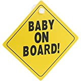 Infactory for Car Sign Baby on Board Novelty Car Sign PVC 135 x 135 mm (Car Sign with Suction Cup Attachment for Birth/Christening/Birthday Gift)
