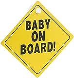 """infactory Baby-Schilder für Autos: Schild""""Baby on Board"""" mit Saugnapfbefestigung, PVC, 135 x 135 mm (Baby-Schild für Auto)"""
