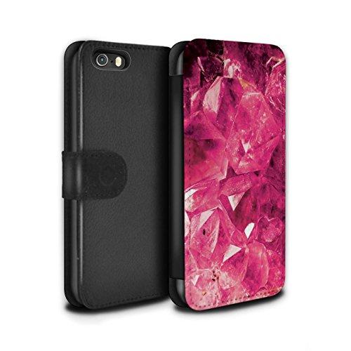 STUFF4 PU-Leder Hülle/Case/Tasche/Cover für Apple iPhone 8 Plus / Februar/Amethyst Muster / Edelstein/Stein Kollektion Oktober/Turmalin